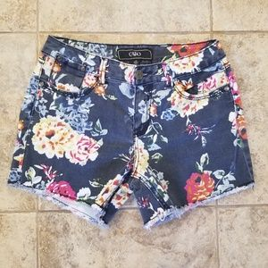 Cato Good Condition Blue Floral Jean Short Shorts
